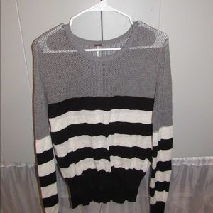 Gray, Black & Cream Striped Sweater w/ Mesh